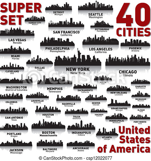 Incredible city skyline set. United States of America. - csp12022077