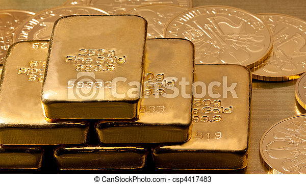 Investment in real gold than gold bullion and gold coins - csp4417483