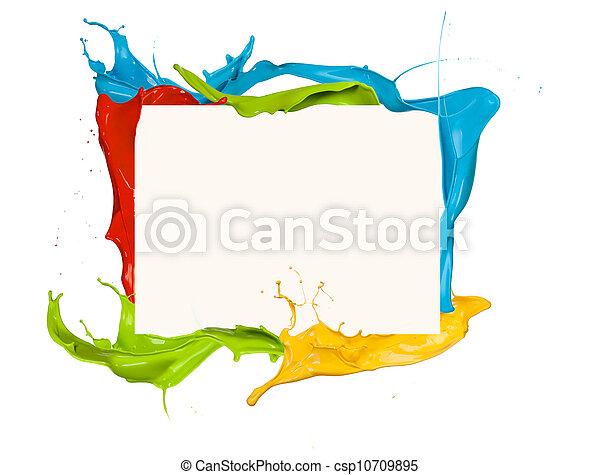 Isolated shot of colored paint frame splash on white background - csp10709895