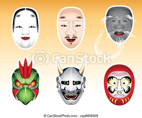 Japan Noh and Kyogen masks   Set 2 - csp6806409