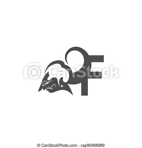 Javanese puppet icon with letter logo design vector illustration - csp90068989