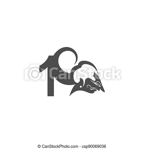 Javanese puppet icon with number logo design vector illustration - csp90069036