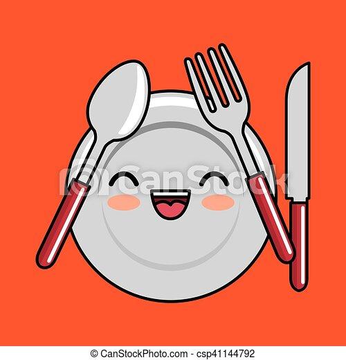 kawaii plate fork spoon knife icon design - csp41144792
