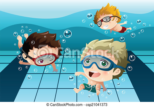 Kids having fun in the swimming pool - csp21041373