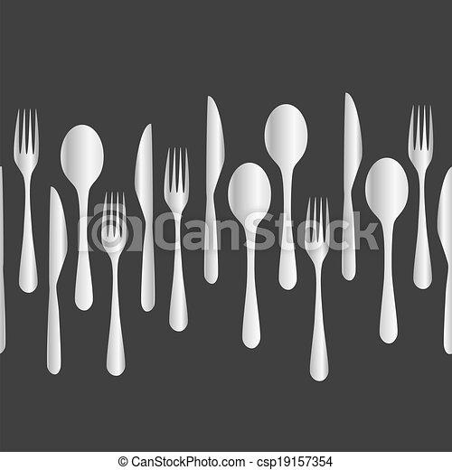 kitchen cutlery - fork, spoon, knife eps10 - csp19157354