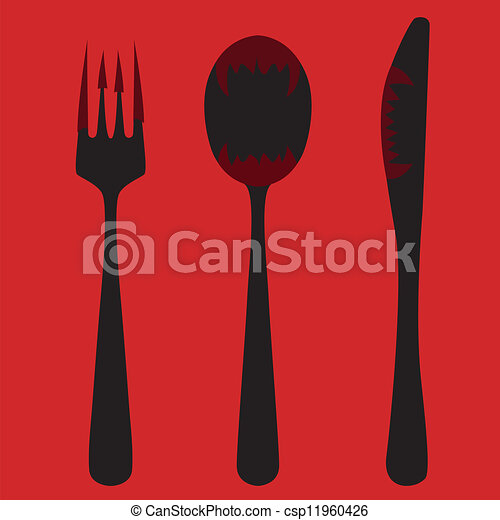 Knife, fork and spoon - csp11960426