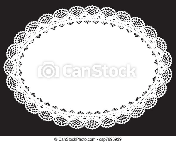 Lace Doily Placemat, White - csp7696939