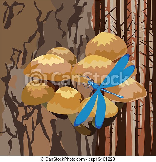 landscape with mushrooms on a tree - csp13461223