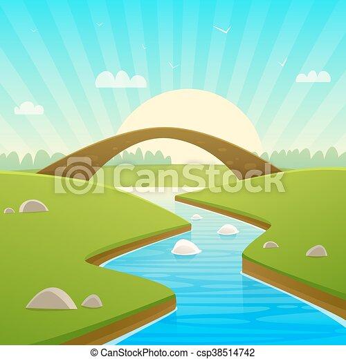 Landscape With Stone Bridge - csp38514742