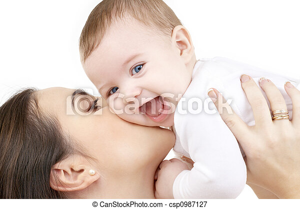 laughing baby playing with mother - csp0987127