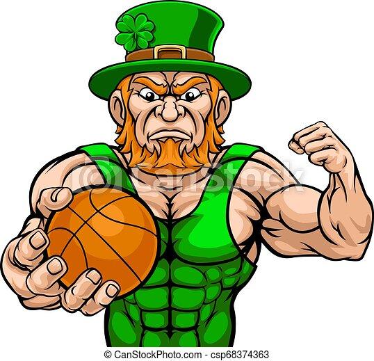 Leprechaun Holding Basketball Ball Sports Mascot - csp68374363