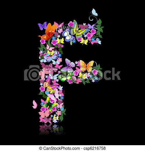 letter of flowers and a butterfly - csp6216758