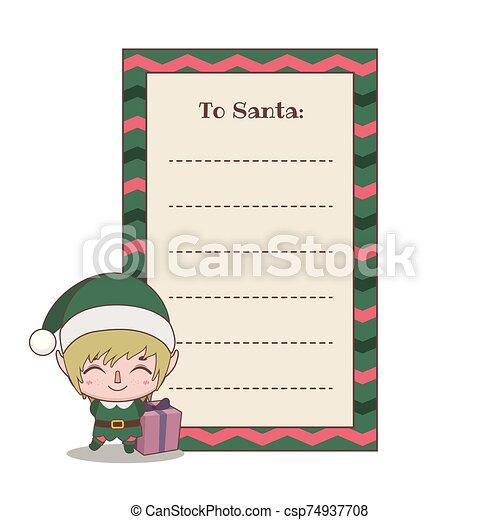 Letter to Santa Claus with a cute little elf helper - csp74937708