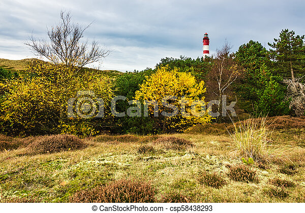 Lighthouse in Wittduen on the island Amrum, Germany - csp58438293