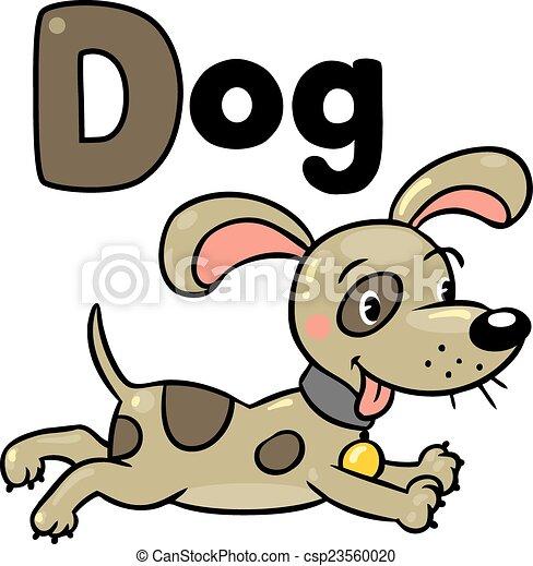 Little dog or puppy, for ABC. Alphabet D - csp23560020