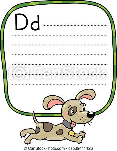 Little dog or puppy, for ABC. Alphabet D - csp39411126