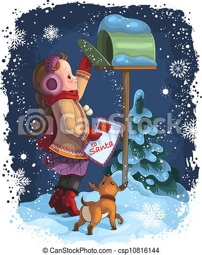 Little girl posting letter to Santa - csp10816144