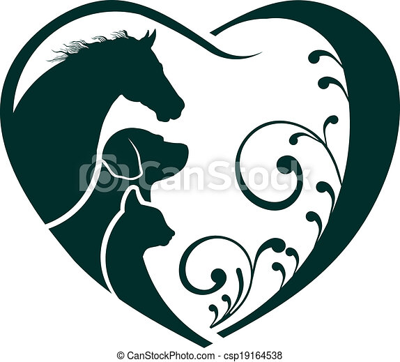 Logo Horse, Dog and Cat love heart - csp19164538