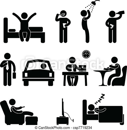 Man Daily Routine People Icon Sign - csp7719234