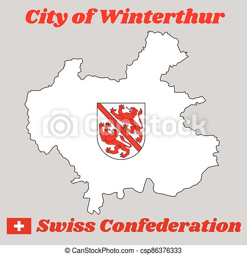 Map outline and Coat of arms of Winterthur, The city in the canton of Zurich in Switzerland - csp86376333