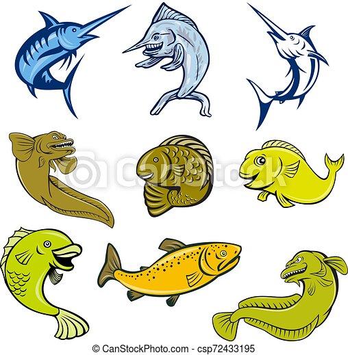 marine-life-mascot-CARTOON-SET - csp72433195