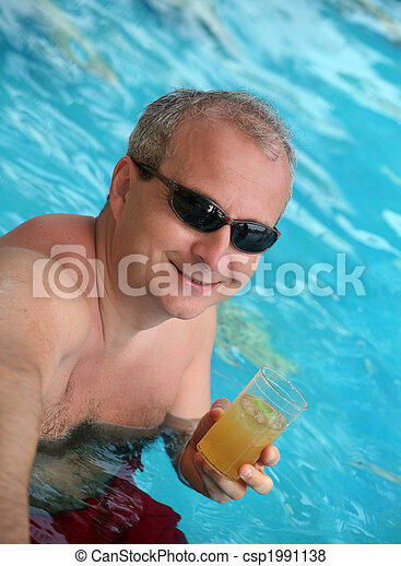 Mature man in the pool - csp1991138