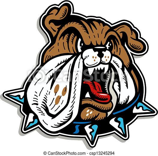 mean bulldog face with collar - csp13245294