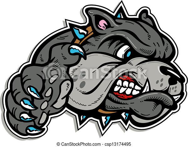 mean bulldog face with paw - csp13174495