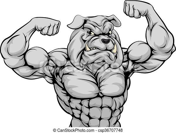 Mean Bulldog Sports Mascot - csp36707748
