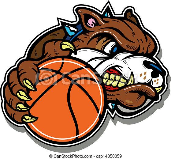 mean bulldog with basketball - csp14050059
