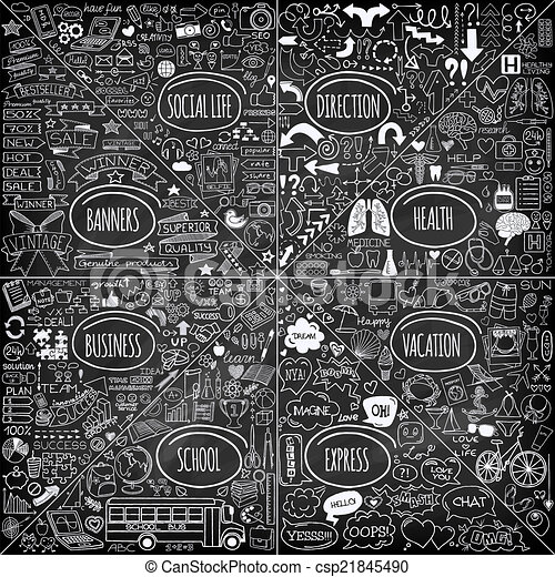 Mega set of doodle icons. - csp21845490