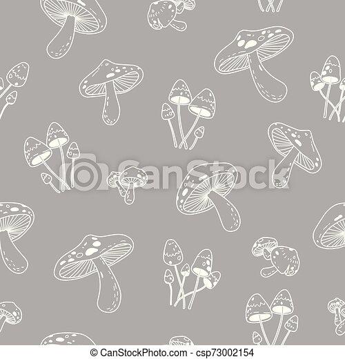 Mushroom vector Seamless Pattern repeat wallpaper tile background doodle illustration - csp73002154