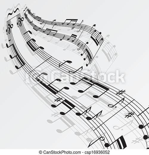 Music notes wave background - csp16936052
