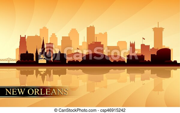 New Orleans city skyline silhouette background - csp46915242