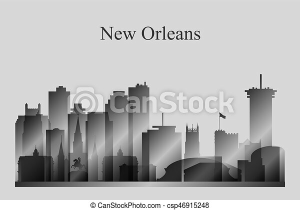 New Orleans city skyline silhouette in grayscale - csp46915248