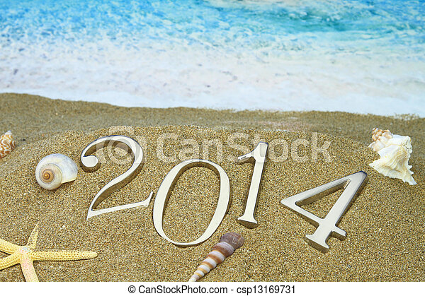 New year 2014 on the beach - csp13169731