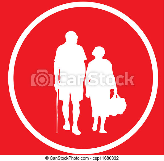 Old couple sign - csp11680332