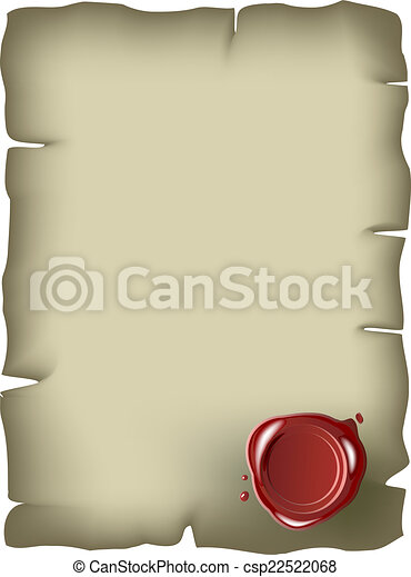 Old paper with red wax seal - csp22522068