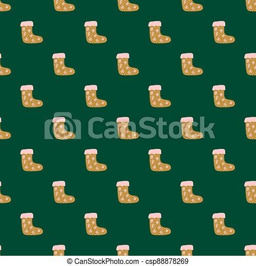 Orange doodle christmas socks seamless pattern in hand drawn style. Green dark background. - csp88878269