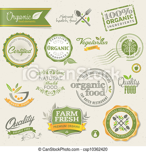 Organic food labels and elements - csp10362420