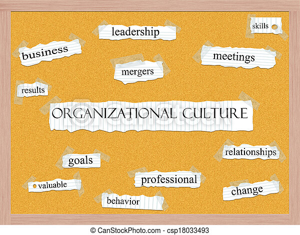 Organizational Culture Corkboard Word Concept - csp18033493