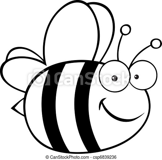 Outlined Cute Cartoon Bee - csp6839236