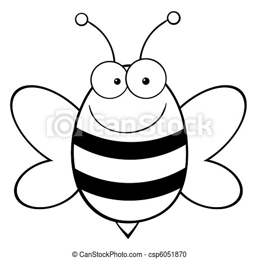 Outlined Happy Bee - csp6051870