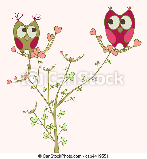 owls in love on branch - csp4419551