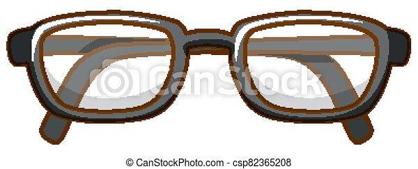 Pair of eyeglasses on white background - csp82365208