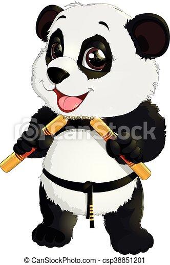panda with nunchaku - csp38851201