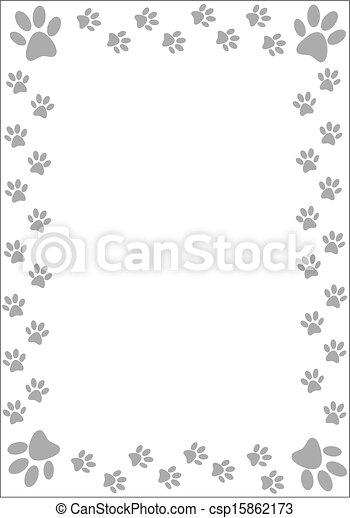 Paw prints border - csp15862173