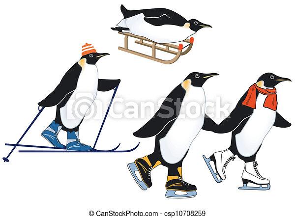 Penguins in winter sports - csp10708259