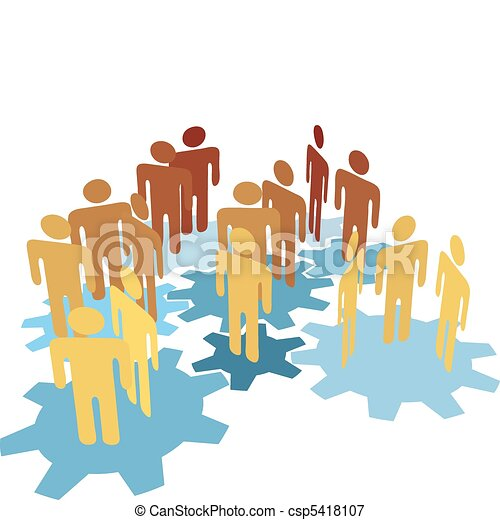 People team work connect on blue gears - csp5418107