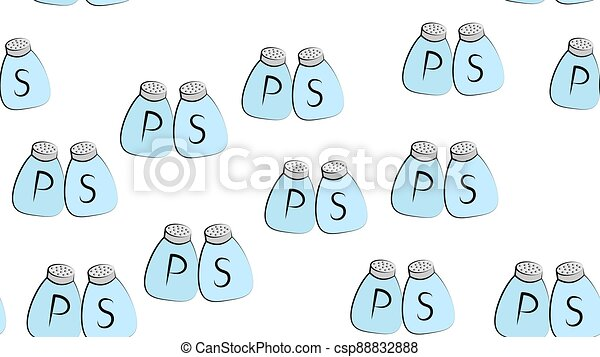 pepper salt bottle seamless vector pattern sugar scarf isolated tile background repeat wallpaper - csp88832888